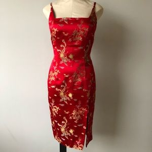 Vintage 90's Red Chinese Dragon Print Dress